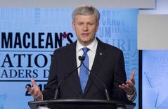 Conservative leader Prime Minister Stephen Harper speaks during the Maclean's National Leaders debate in Toronto, August 6, 2015. Canadians go to the polls in a national election on October 19, 2015.  REUTERS/Frank Gunn/Pool