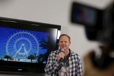 Aerialist Nik Wallenda speaks about the plans for his next feat at the Orlando Eye during a press conference in New York April 13, 2015. REUTERS/Shannon Stapleton