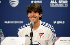 Meia Kaká, do Orlando City, dá entrevista coletiva depois de participar do All-Star Game da liga de futebol dos Estados Unidos. 30/07/2015 REUTERS/Ron Chenoy/USA TODAY Sports