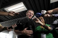 International Olympic Committee (IOC) member and pole vault legend Sergey Bubka of Ukraine, speaks to the press upon his arrival at the Juan Santamaria international airport in Alajuela August 5, 2015.  The two men bidding to lead world athletics into a new era, Sebastian Coe and Sergey Bubka, offered contrasting reactions on Wednesday to the latest doping storm to engulf the sport's governing IAAF. REUTERS/Juan Carlos Ulate