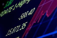 Экран с котировкой индекса Dow Jones Industrial Average на фондовой бирже в Нью-Йорке. 24 августа 2015 года. REUTERS/Brendan McDermid