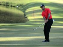Tiger Woods chips onto the 15th green during the final round of the Wyndham Championship golf tournament at Sedgefield Country Club.  Rob Kinnan-USA TODAY Sports