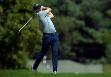 Aug 27, 2015; Edison, NJ, USA;  Jordan Spieth hits his tee shot at the 7th hole during the first round of The Barclays at Plainfield Country Club. Eric Sucar-USA TODAY Sports