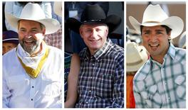 A combination of file photos shows (from L to R) New Democratic Party (NDP) leader Thomas Mulcair, Conservative Party leader and Canadian Prime Minister Stephen Harper and Liberal leader Justin Trudeau attending the Calgary Stampede in Calgary, Alberta July 3, 2015. REUTERS/Todd Korol/Files