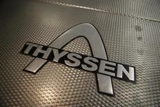 Escalator Thyssen. Le groupe industriel allemand ThyssenKrupp a réduit ses coûts de plus d'un milliard d'euros cette année, dépassant ainsi son objectif, et il va poursuivre ses efforts pour réaliser des économies, /photo prise le 20 noembre 2014/REUTERS/Wolfgang Rattay