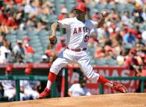 September 6, 2015; Anaheim, CA, USA; Los Angeles Angels starting pitcher Hector Santiago (53) pitches the first inning against the Texas Rangers at Angel Stadium of Anaheim. Mandatory Credit: Gary A. Vasquez-USA TODAY Sports