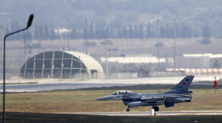 A Turkish Air Force F-16 fighter jet lands at Incirlik air base in Adana, Turkey, in this August 11, 2015 file photo. REUTERS/Murad Sezer
