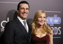 Actors Jon Hamm and Jennifer Westfeldt arrive at the People Magazine Awards in Beverly Hills, California December 18, 2014.    REUTERS/Danny Moloshok