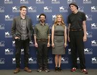 "Directors Duke Johnson (L) and Charlie Kaufman (2nd L) pose with cast members Jennifer Jason Leigh and Tom Noonan (R) during the photocall for the movie ""Anomalisa"" at the 72nd Venice Film Festival, northern Italy September 8, 2015. REUTERS/Stefano Rellandini"