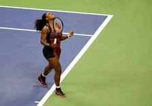 Sep 8, 2015; New York, NY, USA; Serena Williams of the United States celebrates after defeating Venus Williams of the United States on day nine of the 2015 U.S. Open tennis tournament at USTA Billie Jean King National Tennis Center. Mandatory Credit: Jerry Lai-USA TODAY Sports