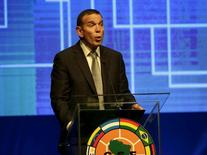 Juan Angel Napout, president of the South American Football Confederation (CONMEBOL) speaks before the draw of the 2015 Copa Sudamericana tournament at the CONMEBOL headquarters in Luque, on the outskirts of Asuncion July 16, 2015. REUTERS/Jorge Adorno