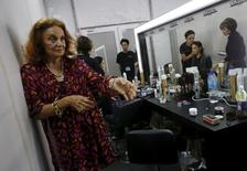 "Designer Diane von Furstenberg speaks to the media backstage before her Fall 2015 collection ""Seduction"" show at the Singapore Fashion Week May 13, 2015. REUTERS/Edgar Su"