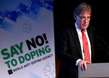 David Howman, Director General of the World Anti-Doping Agency (WADA), addresses the participants of the 11th Symposium for Anti-Doping Organizations in Lausanne March 24, 2015.  REUTERS/Denis Balibouse