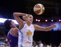 Chicago Sky guard/forward Elena Delle Donne (11) battles for a loose ball with Phoenix Mercury forward Candice Dupree (4) during the second half in game three of the 2014 WNBA Finals at UIC Pavilion in Chicago, Illinois in this September 12, 2014 photo.  Jerry Lai-USA TODAY Sports/Files