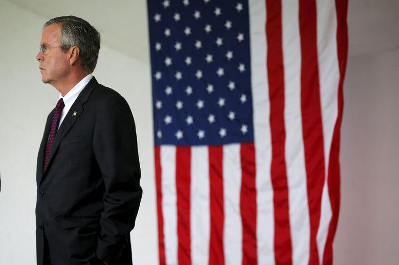 U.S. Republican presidential candidate Jeb Bush waits to take part in ceremonies to remember the victims of the September 11, 2001 attacks in Londonderry, New Hampshire, September 11, 2015.  REUTERS/Brian Snyder