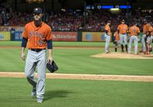 Sep 16, 2015; Arlington, TX, USA; Houston Astros starting pitcher Dallas Keuchel (60) leaves the game during the fifth inning against the Texas Rangers at Globe Life Park in Arlington. Mandatory Credit: Jerome Miron-USA TODAY Sports
