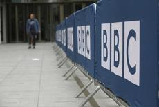 Barriers near to the main entrance of the BBC headquarters and studios in Portland Place, London, Britain, July 16, 2015.   REUTERS/Peter Nicholls