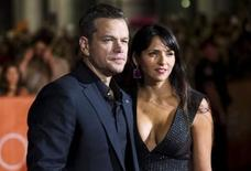 "Actor Matt Damon and his wife Luciana Barroso arrive on the red carpet for the film ""The Martian"" during the 40th Toronto International Film Festival in Toronto, Canada, in this September 11, 2015, file photo. REUTERS/Mark Blinch/Filer"