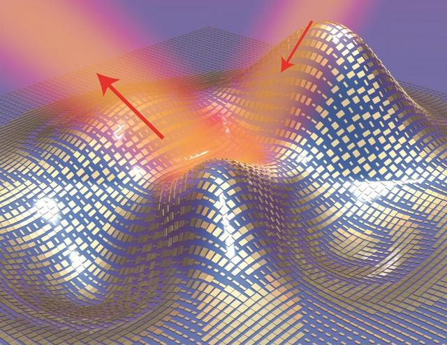Light reflects off the cloak (red arrows) as if it were reflecting off a flat mirror in this 3D illustration of a metasurface skin cloak made from an ultrathin layer of nanoantennas (gold blocks) covering an arbitrarily shaped object is shown in this handout image courtesy of Xiang Zhang group on September 17, 2015. REUTERS/Xiang Zhang group/Lawrence Berkeley National Laboratory/Handout