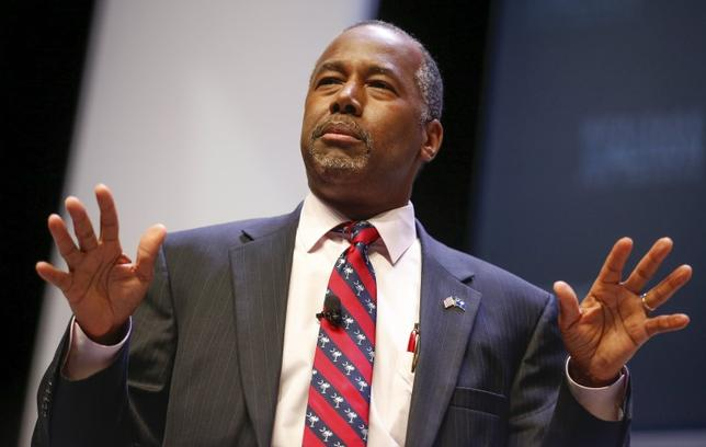 U.S. Republican candidate Dr. Ben Carson speaks during the Heritage Action for America presidential candidate forum in Greenville, South Carolina September 18, 2015. REUTERS/Chris Keane