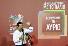 Primeiro-ministro eleito da Grécia, Alexis Tspiras, durante discurso após o resultado, em Atenas.  20/09/2015  REUTERS/Alkis Konstantinidis
