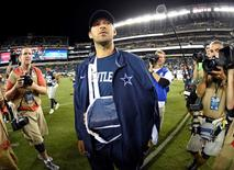 Sep 20, 2015; Philadelphia, PA, USA; Dallas Cowboys quarterback Tony Romo (9) on the field after game against the Philadelphia Eagles during the second half at Lincoln Financial Field. Romo left the game with an injury. The Cowboys defeated the Eagles, 20-10. Mandatory Credit: Eric Hartline-USA TODAY Sports