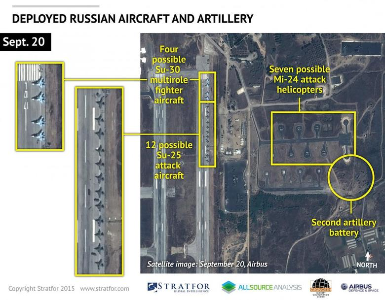 An Airbus Defence and Space satellite image courtesy of Stratfor, a geopolitical intelligence and advisory firm in Austin, Texas, shows at least 16 Russian combat aircraft stationed at the Bassel al Assad air base near the Syrian town of Latakia September 20, 2015. Russia has started flying drone aircraft on surveillance missions in Syria, U.S. officials said on Monday, in what appeared to be Moscow's first military air operations inside the country since staging a rapid buildup at a Syrian air base. Mandatory Credit REUTERS/www.Stratfor.com/Airbus Defense and Space/Handout via Reuters ATTENTION EDITORS - THIS PICTURE WAS PROVIDED BY A THIRD PARTY. REUTERS IS UNABLE TO INDEPENDENTLY VERIFY THE AUTHENTICITY, CONTENT, LOCATION OR DATE OF THIS IMAGE. THIS PICTURE IS DISTRIBUTED EXACTLY AS RECEIVED BY REUTERS, AS A SERVICE TO CLIENTS. FOR EDITORIAL USE ONLY. NOT FOR SALE FOR MARKETING OR ADVERTISING CAMPAIGNS. NO SALES. NO ARCHIVES. MANDATORY CREDIT