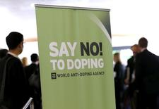 Participants talk before the start of the World Anti-Doping Agency (WADA) Symposium for Anti-Doping Organizations in Lausanne March 24, 2015. REUTERS/Denis Balibouse