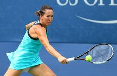 Aug 31, 2015; New York, NY, USA; Jelena Jankovic of Serbia returns a shot against Oceane Dodin of France on day one of the 2015 U.S. Open tennis tournament at USTA Billie Jean King National Tennis Center. Mandatory Credit: Jerry Lai-USA TODAY Sports  / Reuters