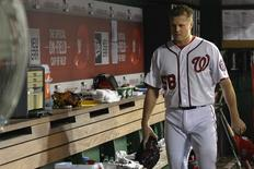 Sep 23, 2015; Washington, DC, USA;  Washington Nationals relief pitcher Jonathan Papelbon (58) walks through the dugout after being ejected form the game for hitting Baltimore Orioles third baseman Manny Machado (not pictured) with a pitch during the ninth inning at Nationals Park. Baltimore Orioles defeated Washington Nationals 4-3. Mandatory Credit: Tommy Gilligan-USA TODAY Sports