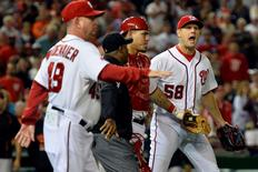 Sep 23, 2015; Washington, DC, USA;  Washington Nationals relief pitcher Jonathan Papelbon (58) reacts after hitting Baltimore Orioles third baseman Manny Machado (not pictured) during the ninth inning at Nationals Park. Baltimore Orioles defeated Washington Nationals 4-3. Mandatory Credit: Tommy Gilligan-USA TODAY Sports