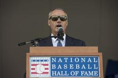 Jul 26, 2015; Cooperstown, NY, USA; Baseball Commissioner Rob Manfred announces Hall of Fame Inductee Craig Biggio (not pictured) as a new member of the Hall of Fame at the Hall of Fame Induction Ceremonies at Clark Sports Center. Mandatory Credit: Gregory J. Fisher-USA TODAY Sports