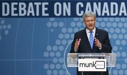 Conservative leader and Prime Minister Stephen Harper speaks at the Munk leaders' debate on Canada's foreign policy in Toronto, Canada September 28, 2015. REUTERS/Mark Blinch