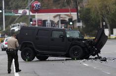 A damaged vehicle is pictured at the scene of a four-car crash involving Olympic gold medalist and reality TV star Caitlyn Jenner in Malibu, California, in this February 7, 2015 file photo.    REUTERS/Jonathan Alcorn/Files