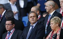 Football - Wales v Israel - UEFA Euro 2016 Qualifying Group B - Cardiff City Stadium, Cardiff, Wales - 6/9/15 UEFA President Michel Platini in the stands before the game Reuters / Rebecca Naden Livepic EDITORIAL USE ONLY.