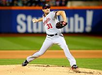 Oct 3, 2015; New York City, NY, USA; Washington Nationals starting pitcher Max Scherzer (31) pitches against the New York Mets in the first inning during game two at Citi Field. Mandatory Credit: Andy Marlin-USA TODAY Sports