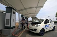 A Chery electric car is being charged at a charging station in Dalian, Liaoning province, China, September 1, 2015.REUTERS/Stringer