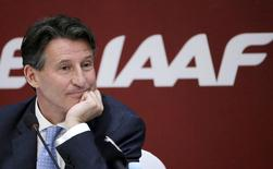 President of International Association of Athletics Federations Sebastian Coe listens to a question at a news conference in Beijing, August 19, 2015.  REUTERS/Jason Lee