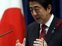 Primeiro-ministro do Japão, Shinzo Abe, durante evento em Tóquio.   06/10/2015   REUTERS/Yuya Shino