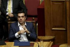Greek Prime Minister Alexis Tsipras attends a parliamentary session before a vote of confidence at the parliament building in Athens, Greece, October 7, 2015. REUTERS/Alkis Konstantinidis