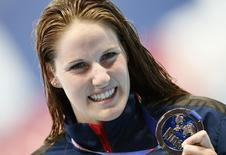 Missy Franklin of the U.S. poses with her silver medal after the women's 200m backstroke final at the Aquatics World Championships in Kazan, Russia, August 8, 2015.   REUTERS/Stefan Wermuth