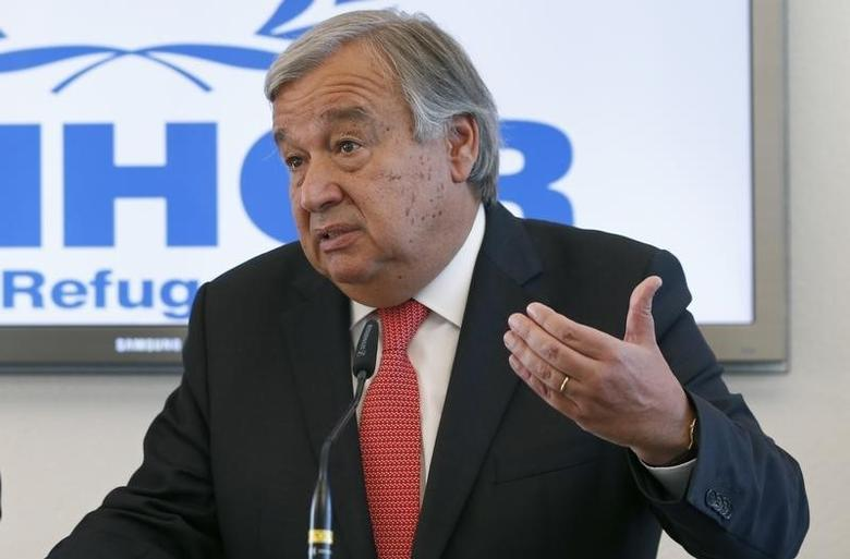 Antonio Guterres, United Nations High Commissioner for Refugees (UNHCR) speaks to media about the refugee crisis in Europe, following their bilateral meeting at the UNHCR headquarters in Geneva, Switzerland, September 4, 2015.  REUTERS/Denis Balibouse