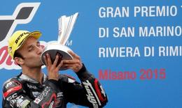 Kalex Moto2 rider Johann Zarco of France kisses the trophy on the podium after winning the San Marino Grand Prix in Misano Adriatico circuit in central Italy September 13, 2015.   REUTERS/Max Rossi
