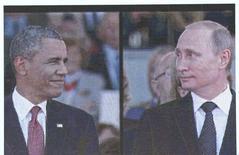 Президент США Барак Обама (слева) и президент России Владимир Путин в Уистреаме 6 июня 2014 года. Печатный орган правящей Коммунистической партии Китая во вторник обвинил как США, так и Россию в архаическом воспроизведении на территории Сирии модели соперничества времен холодной войны и призвал к мирным переговорам. REUTERS/Kevin Lamarque