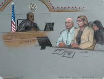 Former Anglo Irish Bank CEO David Drumm sits with his attorney Tracy Miner in federal court in Boston, Massachusetts, October 13, 2015, in this sketch provided by Jane Collins. REUTERS/Jane Collins