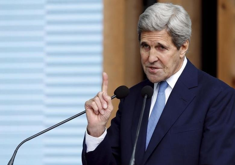 U.S. Secretary of State John Kerry gestures as he speaks during a visit at Expo Milan in Milan, Italy, October 17, 2015. REUTERS/Alessandro Garofalo