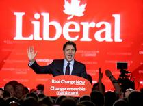 Liberal Party leader Justin Trudeau gives his victory speech after Canada's federal election in Montreal, Quebec, October 19, 2015.  REUTERS/Chris Wattie