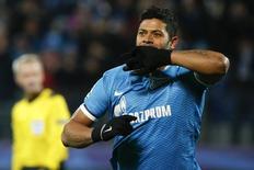 Hulk comemora vitória do Zenit São Petersburgo contra o Lyon.  20/10/2015. REUTERS/Grigory Dukor