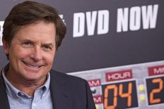 """Michael J. Fox durante evento comemorando 30 anos da saga """"De Volta para o Futuro"""", em Nova York.  21/10/2015   REUTERS/Andrew Kelly"""