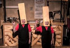 "Belgian actors Claude Semal (L) and Michel Carcan perform the play called ""A La Frite"" (To the Chip), at Le Public theatre in Brussels, Belgium, in this handout picture taken on August 24, 2015.  REUTERS/Bruno Mullenaerts/Handout via Reuters"